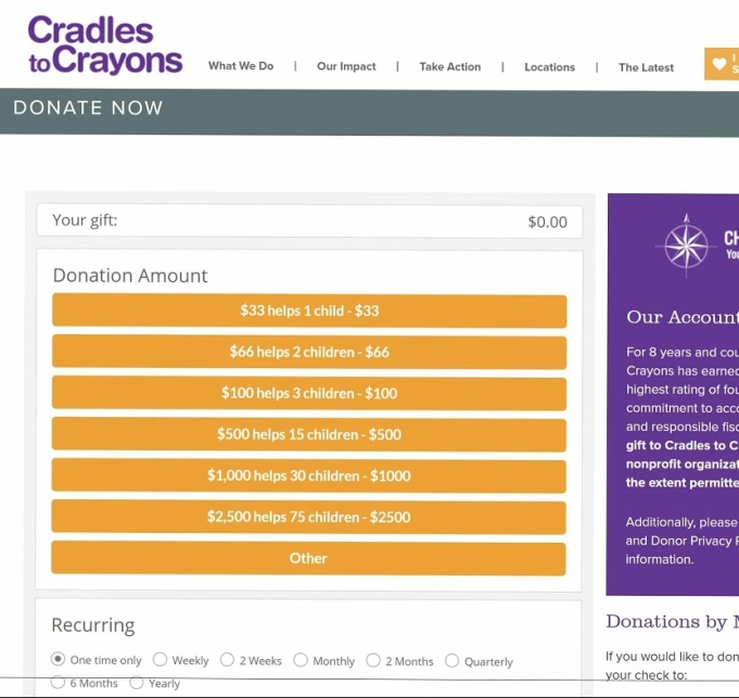Cradles to Crayons screen shot