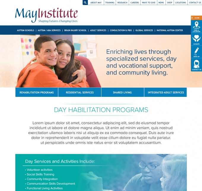 May Institute screen shot