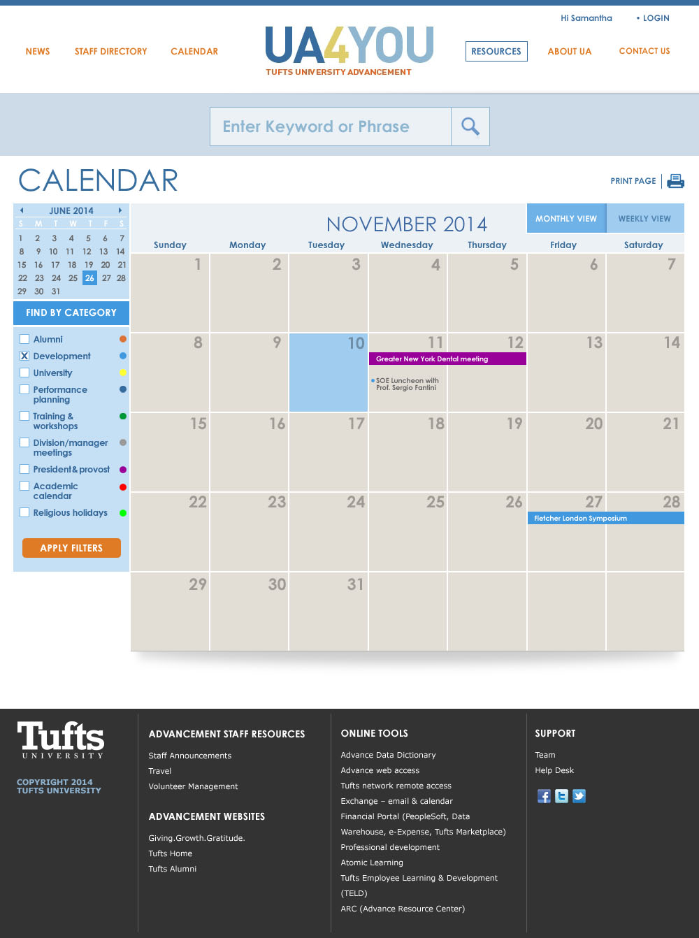 Tufts University - UA4YOU screen shot